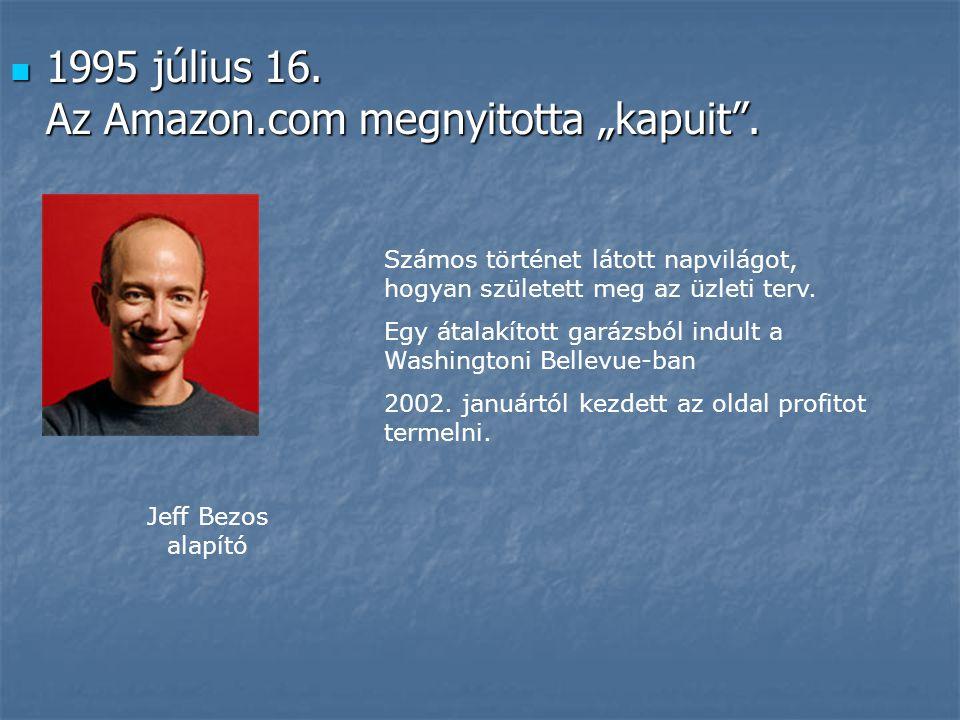 """ 1995 július 16. Az Amazon.com megnyitotta """"kapuit"""". Jeff Bezos alapító Számos történet látott napvilágot, hogyan született meg az üzleti terv. Egy á"""