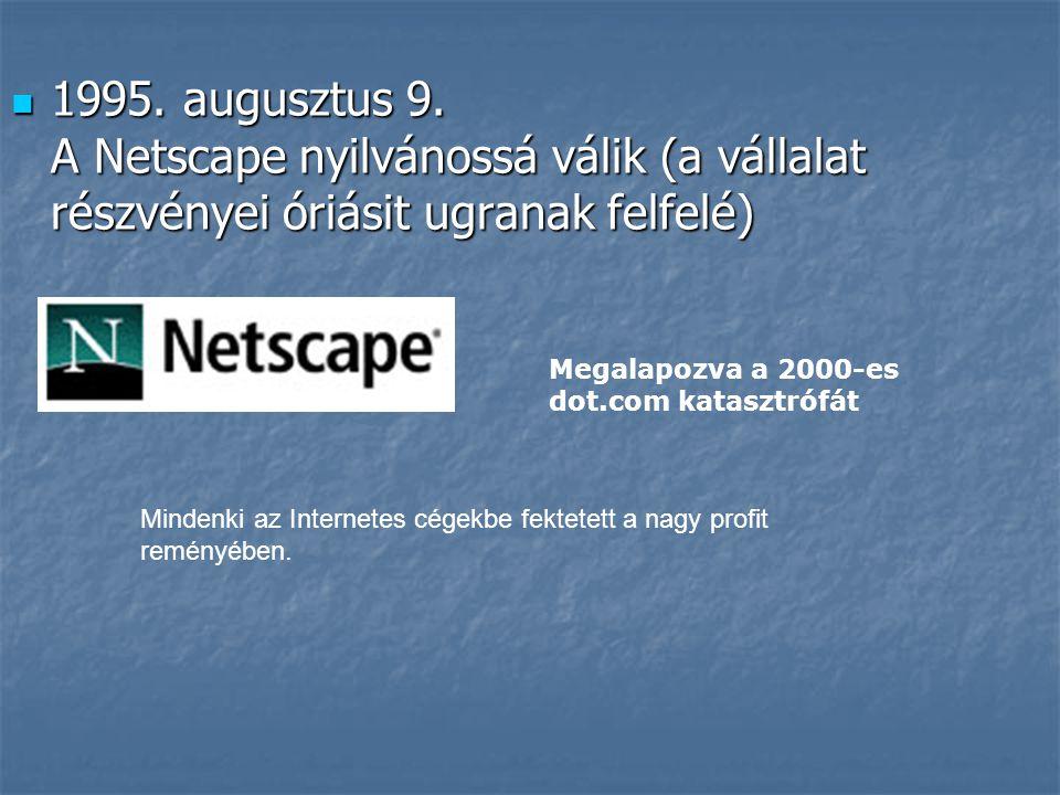  1995. augusztus 9. A Netscape nyilvánossá válik (a vállalat részvényei óriásit ugranak felfelé) Megalapozva a 2000-es dot.com katasztrófát Mindenki