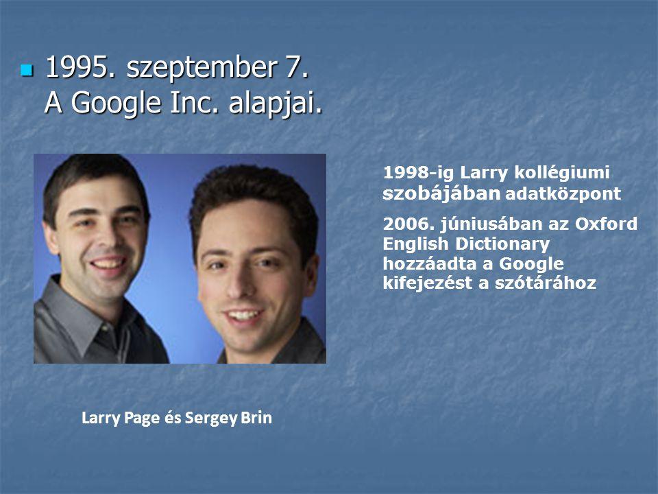 1995. szeptember 7. A Google Inc. alapjai. 1998-ig Larry kollégiumi szobájában adatközpont 2006. júniusában az Oxford English Dictionary hozzáadta a