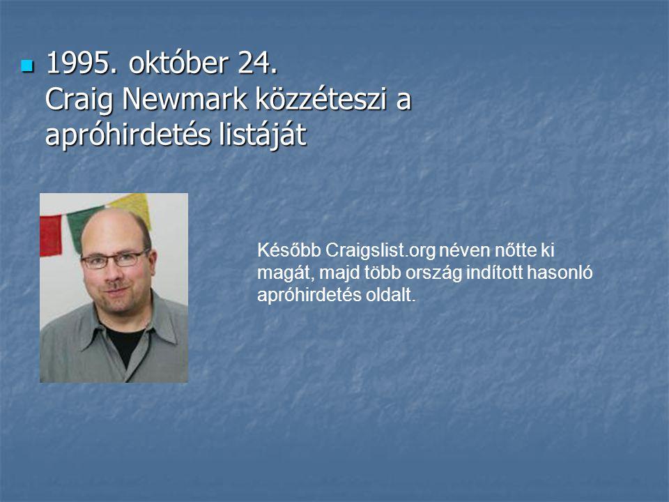  1995. október 24. Craig Newmark közzéteszi a apróhirdetés listáját Később Craigslist.org néven nőtte ki magát, majd több ország indított hasonló apr