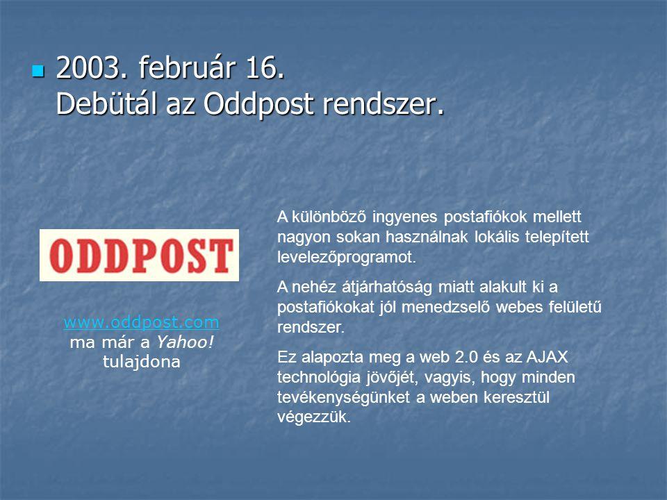  2003. február 16. Debütál az Oddpost rendszer. A különböző ingyenes postafiókok mellett nagyon sokan használnak lokális telepített levelezőprogramot