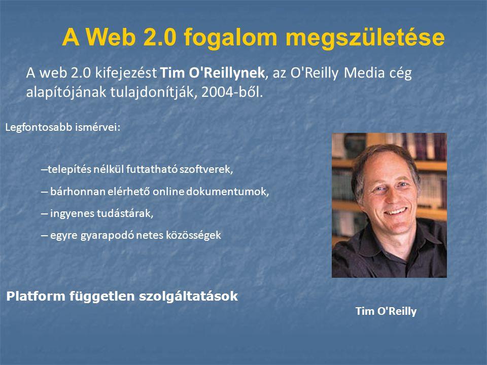A Web 2.0 fogalom megszületése A web 2.0 kifejezést Tim O'Reillynek, az O'Reilly Media cég alapítójának tulajdonítják, 2004-ből. – telepítés nélkül fu