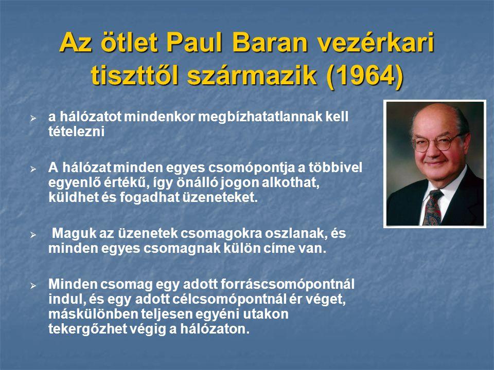 Az ötlet Paul Baran vezérkari tiszttől származik (1964)   a hálózatot mindenkor megbízhatatlannak kell tételezni   A hálózat minden egyes csomópon