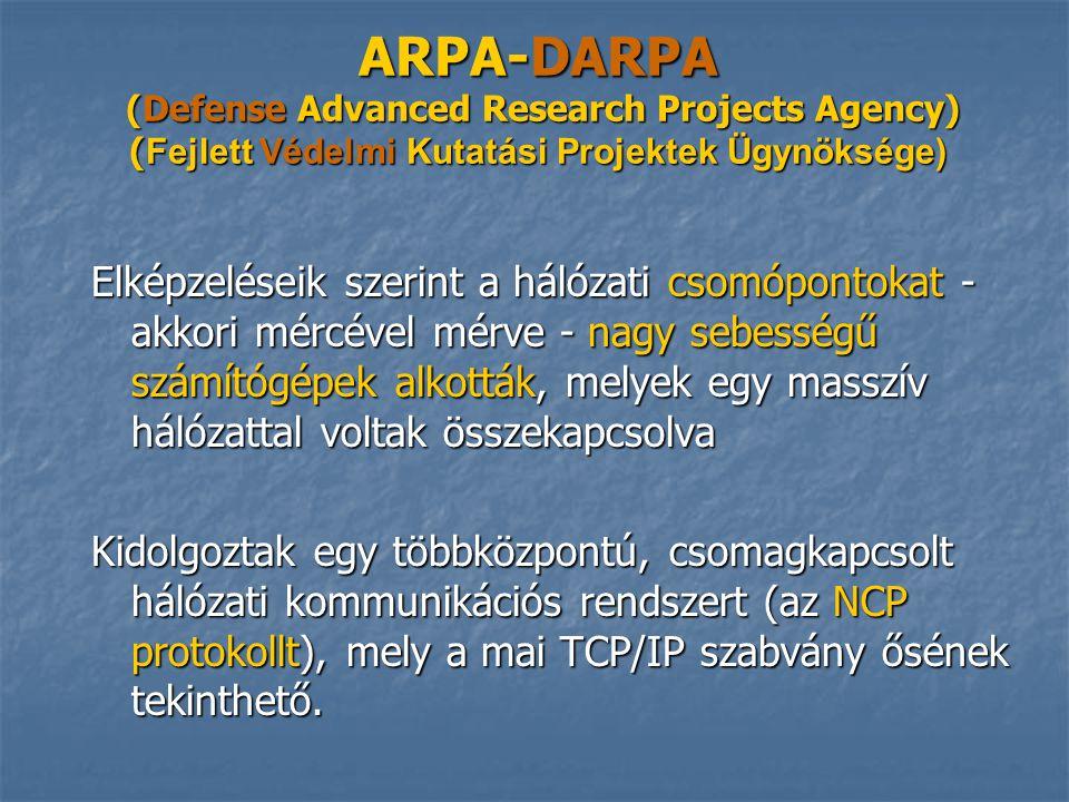 ARPA-DARPA (Defense Advanced Research Projects Agency) ( Fejlett Védelmi Kutatási Projektek Ügynöksége) ARPA-DARPA (Defense Advanced Research Projects