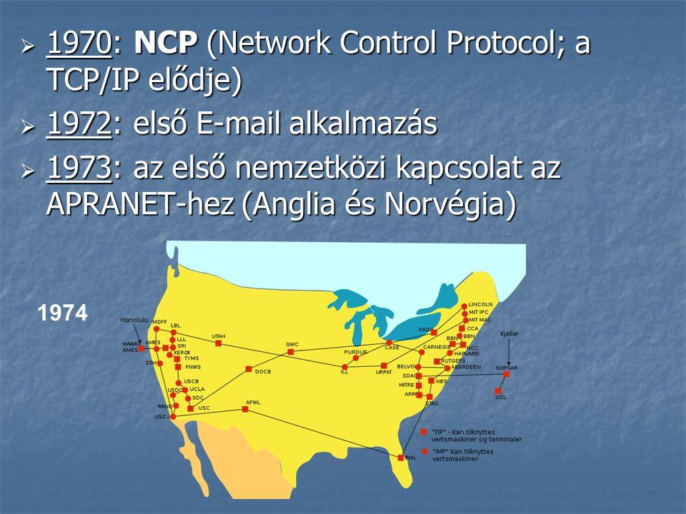  1970: NCP (Network Control Protocol; a TCP/IP elődje)  1972: első E-mail alkalmazás  1973: az első nemzetközi kapcsolat az APRANET-hez (Anglia és