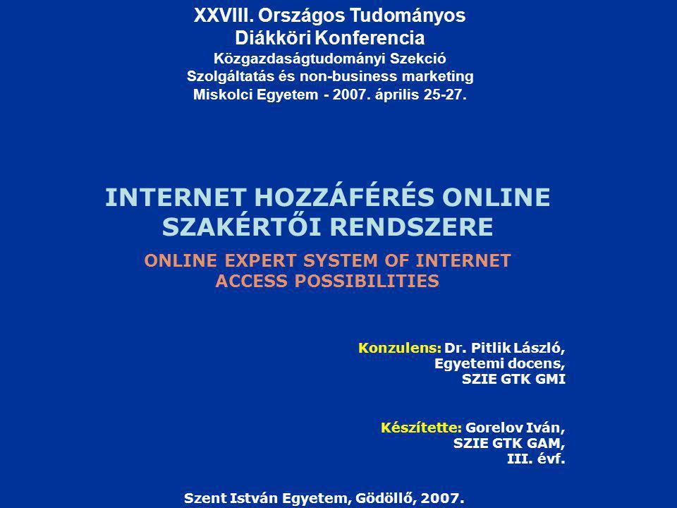 INTERNET HOZZÁFÉRÉS ONLINE SZAKÉRTŐI RENDSZERE Készítette: Gorelov Iván, SZIE GTK GAM, III.