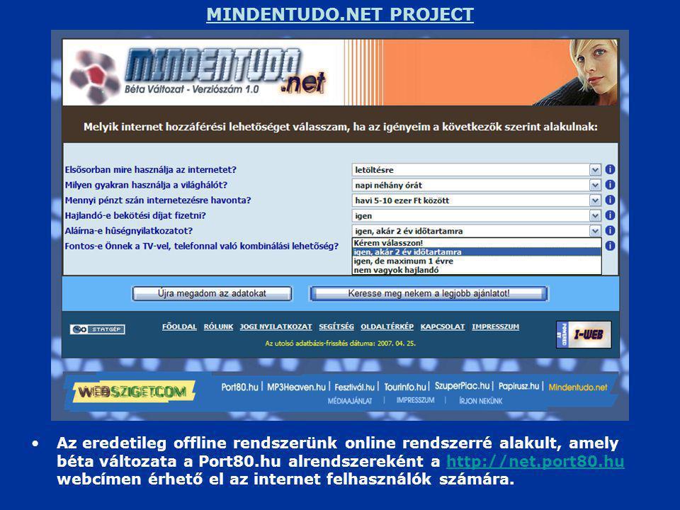 MINDENTUDO.NET PROJECT •Az eredetileg offline rendszerünk online rendszerré alakult, amely béta változata a Port80.hu alrendszereként a http://net.port80.hu webcímen érhető el az internet felhasználók számára.http://net.port80.hu