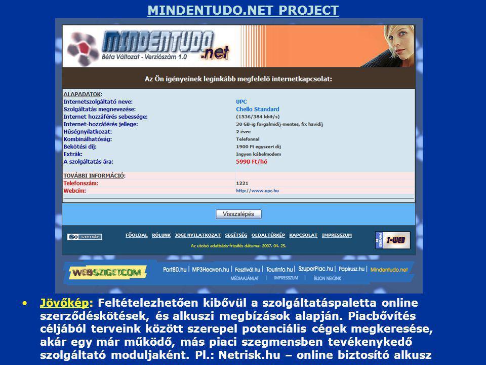 MINDENTUDO.NET PROJECT •Jövőkép: Feltételezhetően kibővül a szolgáltatáspaletta online szerződéskötések, és alkuszi megbízások alapján.