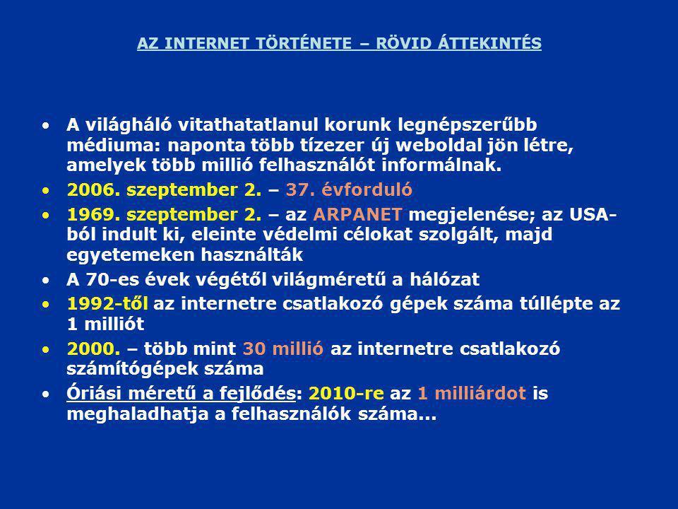 AZ INTERNET TÖRTÉNETE – RÖVID ÁTTEKINTÉS •A világháló vitathatatlanul korunk legnépszerűbb médiuma: naponta több tízezer új weboldal jön létre, amelyek több millió felhasználót informálnak.