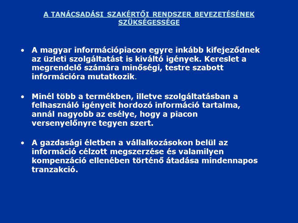A TANÁCSADÁSI SZAKÉRTŐI RENDSZER BEVEZETÉSÉNEK SZÜKSÉGESSÉGE •A magyar információpiacon egyre inkább kifejeződnek az üzleti szolgáltatást is kiváltó igények.