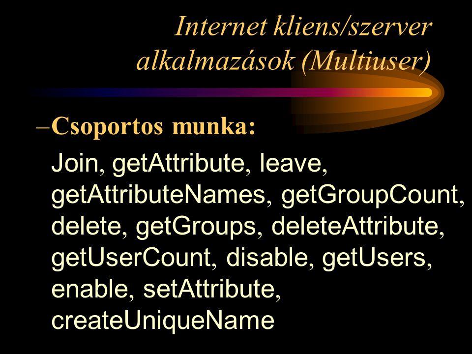 Internet kliens/szerver alkalmazások (Multiuser) –Csoportos munka: Join, getAttribute, leave, getAttributeNames, getGroupCount, delete, getGroups, deleteAttribute, getUserCount, disable, getUsers, enable, setAttribute, createUniqueName