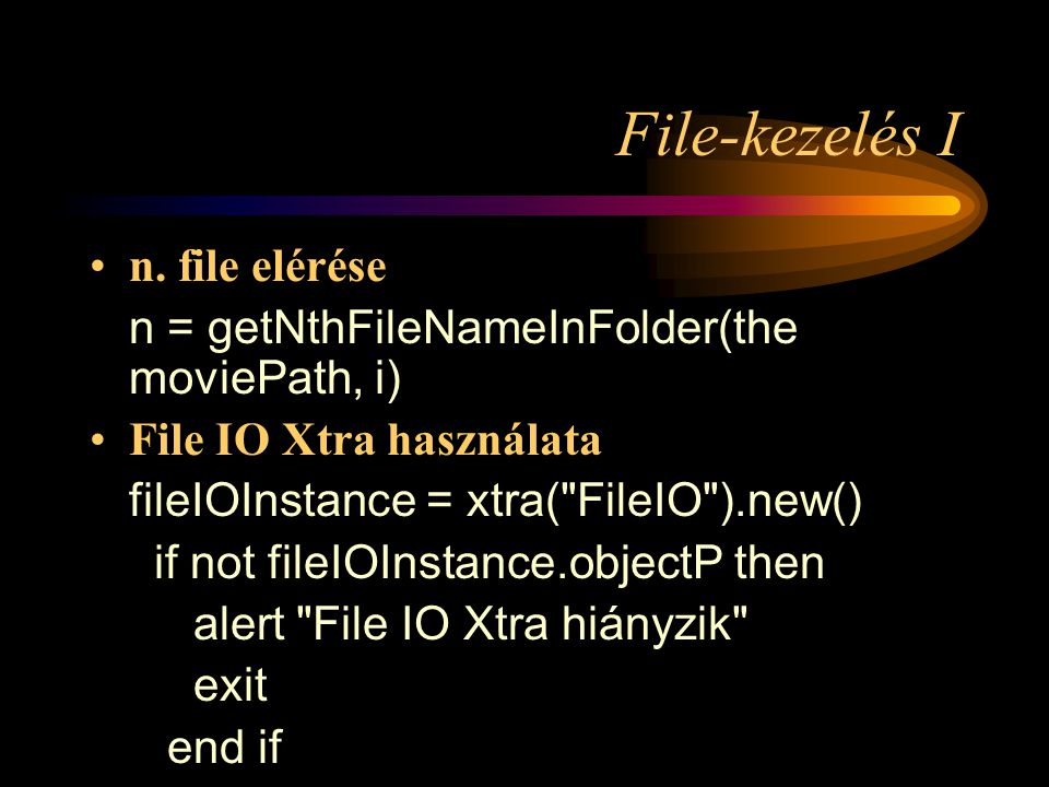 Internet kliens/szerver alkalmazások (Multiuser) –GetAttribute (2) system.DBUser.getAttribute [#userID: userName , #attribute: [#attributeName1, #attributeName2]] system.DBApplication.getAttribute [#application: appName , #attribute: [#attributeName1, #attributeName2]]