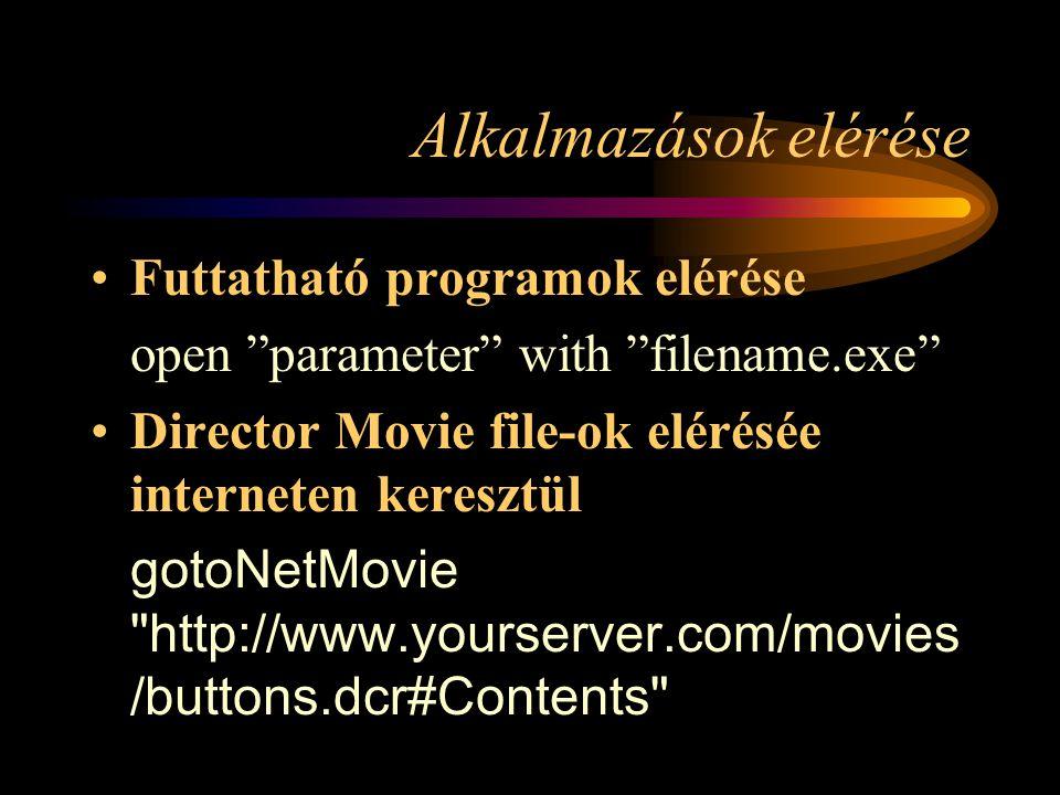Internet kliens/szerver alkalmazások (Multiuser) –GetUserCount errCode = gMultiuserInstance.sendNetMessage( system.movie.getUserCount , anySubject ) errCode = gMultiuserInstance.sendNetMessage( system.group.getUserCount , anySubject , [ @RedTeam , @BlueTeam , @GreenTeam ])
