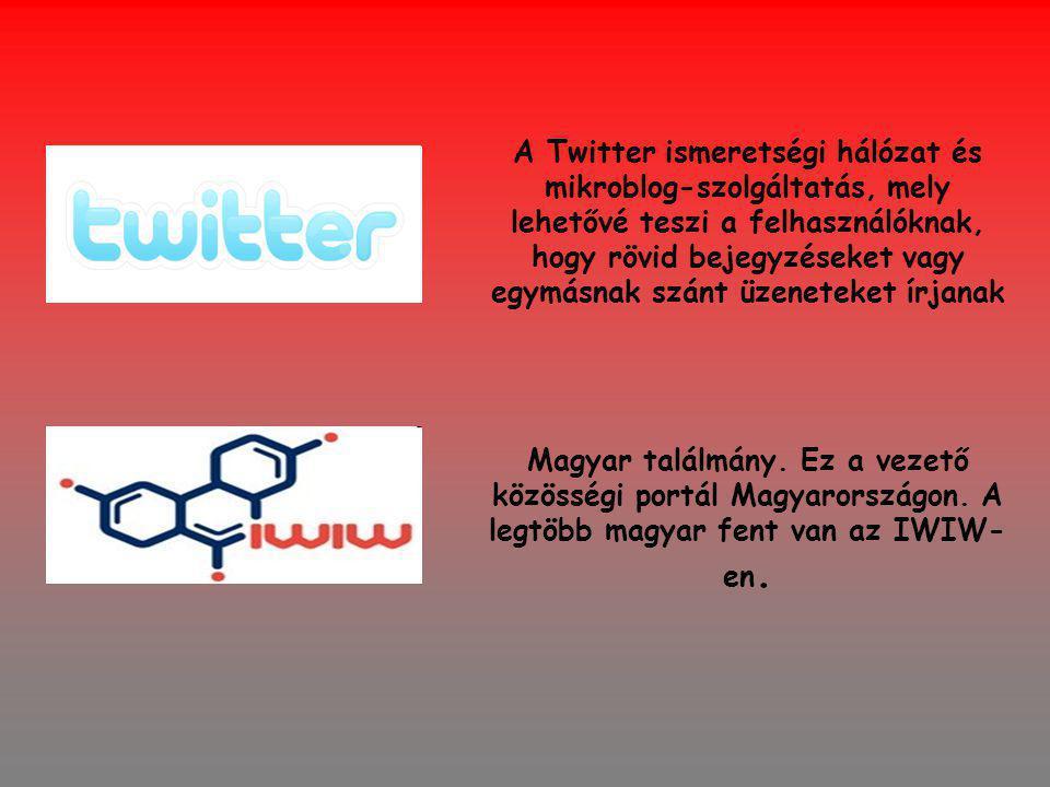 A Twitter ismeretségi hálózat és mikroblog-szolgáltatás, mely lehetővé teszi a felhasználóknak, hogy rövid bejegyzéseket vagy egymásnak szánt üzeneteket írjanak Magyar találmány.