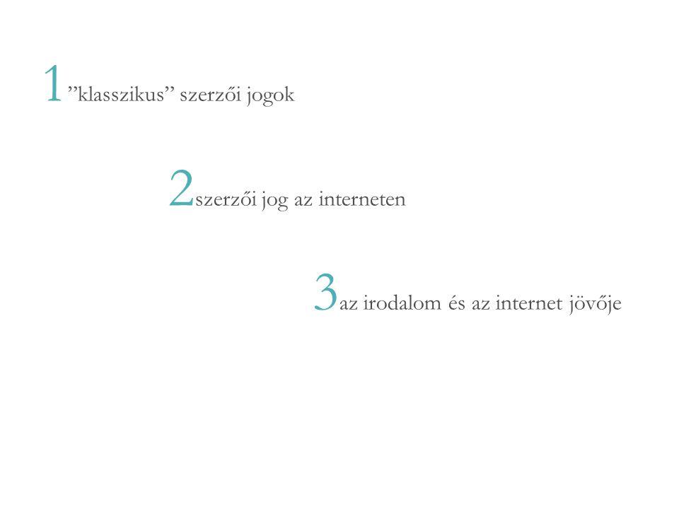 1 klasszikus szerzői jogok 2 szerzői jog az interneten 3 az irodalom és az internet jövője 4