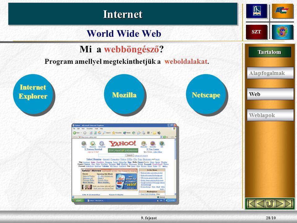 Tartalom InternetInternet SZT 9. fejezet28/10 World Wide Web Mi a webböngésző.