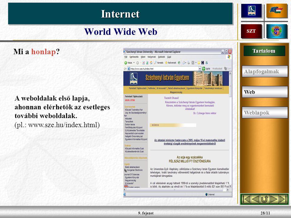 Tartalom InternetInternet SZT 9.fejezet28/11 World Wide Web Mi a honlap.