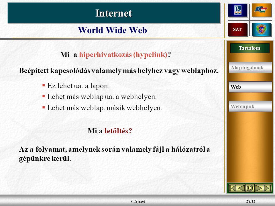 Tartalom InternetInternet SZT 9. fejezet28/12 World Wide Web Mi a hiperhivatkozás (hypelink).