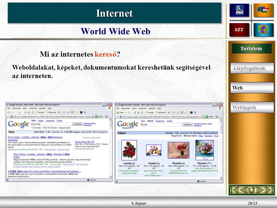 Tartalom InternetInternet SZT 9.fejezet28/13 Mi az internetes kereső.