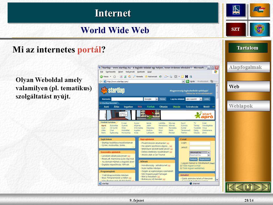 Tartalom InternetInternet SZT 9.fejezet28/14 Mi az internetes portál.