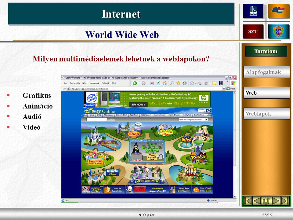Tartalom InternetInternet SZT 9.fejezet28/15 Milyen multimédiaelemek lehetnek a weblapokon.