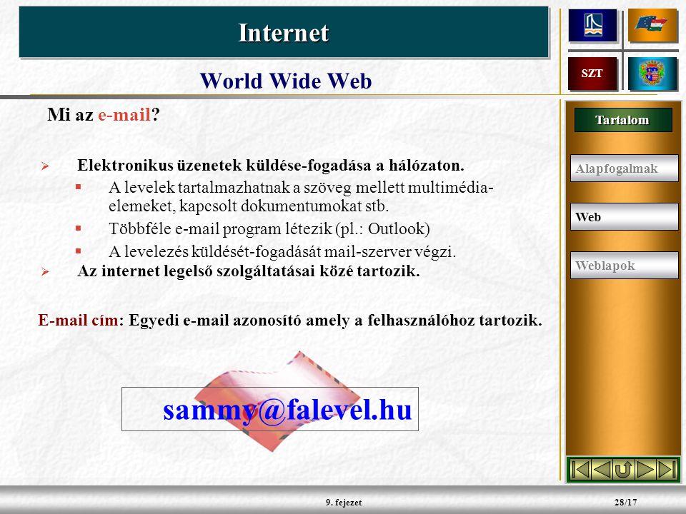 Tartalom InternetInternet SZT 9. fejezet28/17 Mi az e-mail.