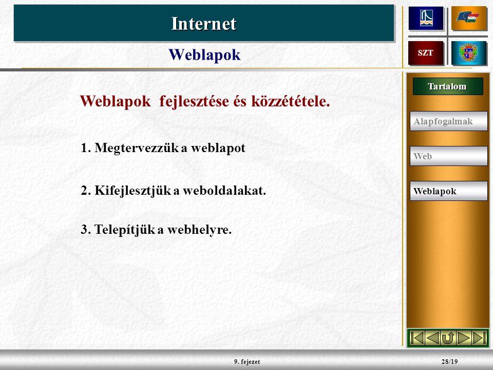 Tartalom InternetInternet SZT 9.fejezet28/19 Weblapok 1.