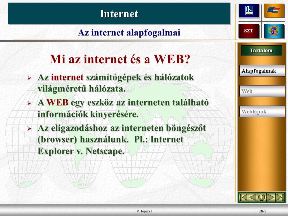 Tartalom InternetInternet SZT 9. fejezet28/5 Mi az internet és a WEB.
