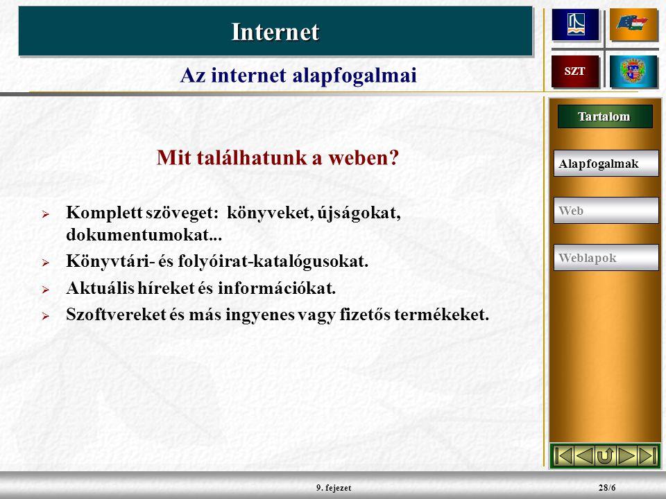 Tartalom InternetInternet SZT 9. fejezet28/6 Mit találhatunk a weben.
