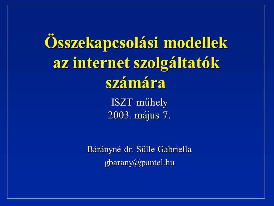 Összekapcsolási modellek az internet szolgáltatók számára Bárányné dr. Sülle Gabriella gbarany@pantel.hu ISZT műhely 2003. május 7.