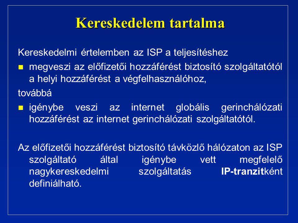 Kereskedelem tartalma Kereskedelmi értelemben az ISP a teljesítéshez n n megveszi az előfizetői hozzáférést biztosító szolgáltatótól a helyi hozzáférést a végfelhasználóhoz, továbbá n n igénybe veszi az internet globális gerinchálózati hozzáférést az internet gerinchálózati szolgáltatótól.
