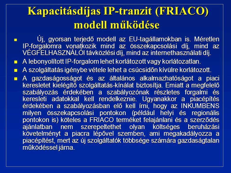 Kapacitásdíjas IP-tranzit (FRIACO) modell működése n Új, gyorsan terjedő modell az EU-tagállamokban is. Méretlen IP-forgalomra vonatkozik mind az össz