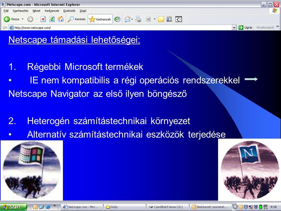10 Netscape támadási lehetőségei: 1.Régebbi Microsoft termékek • IE nem kompatibilis a régi operációs rendszerekkel Netscape Navigator az első ilyen böngésző 2.Heterogén számítástechnikai környezet •Alternatív számítástechnikai eszközök terjedése