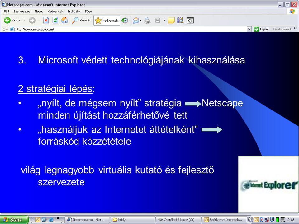 """11 3.Microsoft védett technológiájának kihasználása 2 stratégiai lépés: •""""nyílt, de mégsem nyílt"""" stratégia Netscape minden újítást hozzáférhetővé tet"""
