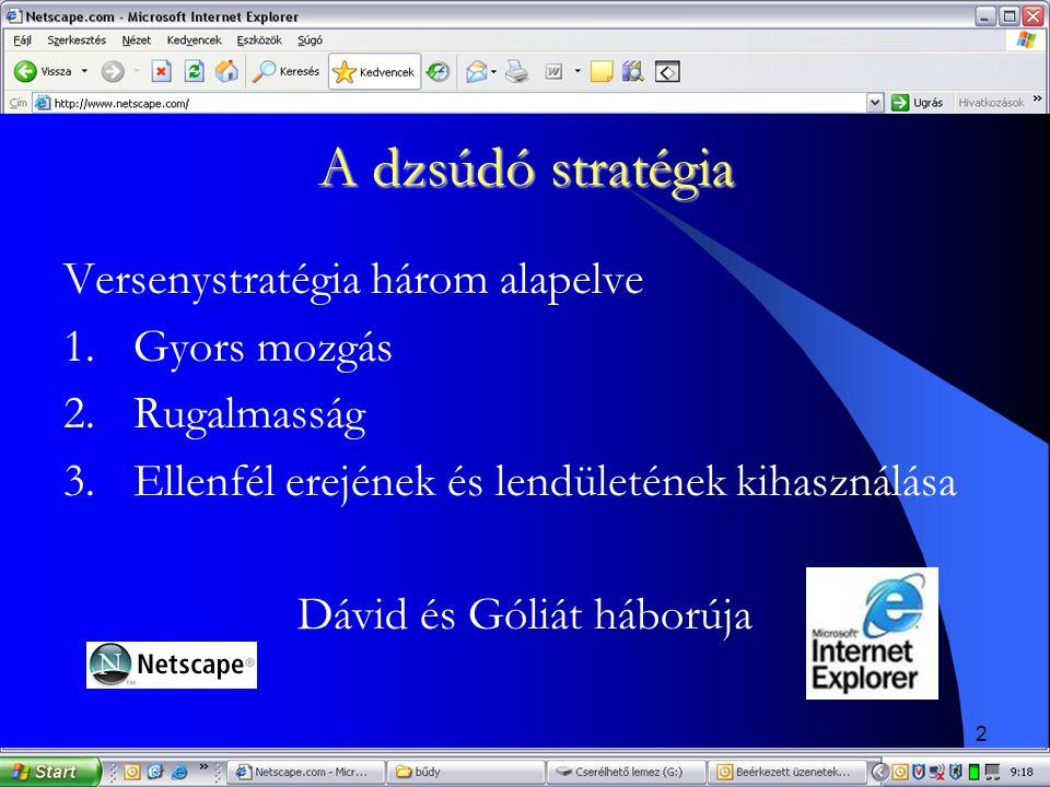 2 A dzsúdó stratégia Versenystratégia három alapelve 1.Gyors mozgás 2.Rugalmasság 3.Ellenfél erejének és lendületének kihasználása Dávid és Góliát háb