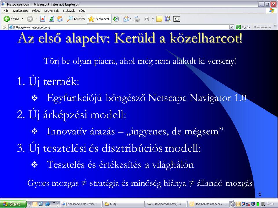5 Az első alapelv: Kerüld a közelharcot! Törj be olyan piacra, ahol még nem alakult ki verseny! 1. Új termék:  Egyfunkciójú böngésző Netscape Navigat
