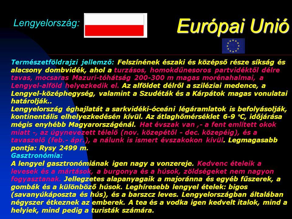 Európai Unió Lengyelország: Természetföldrajzi jellemző: Felszínének északi és középső része síkság és alacsony dombvidék, ahol a turzásos, homokdűnesoros partvidéktől délre tavas, mocsaras Mazuri-tóhátság 200-300 m magas morénahalmai, a Lengyel-alföld helyezkedik el.