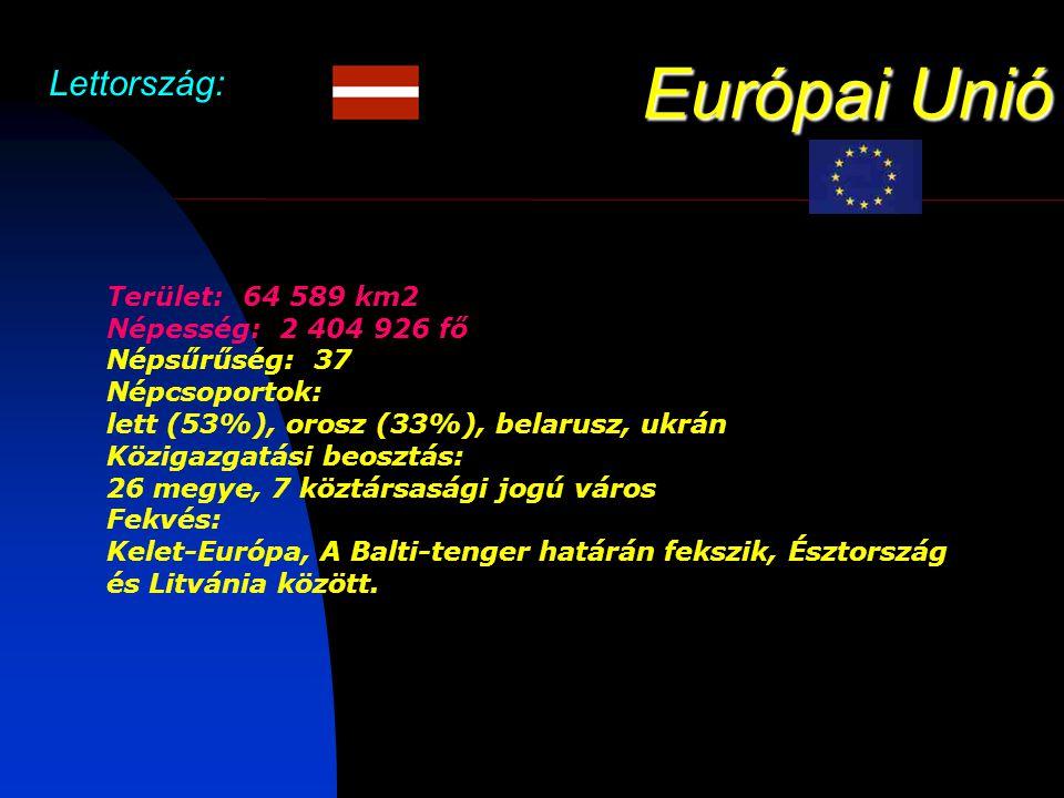 Európai Unió Lettország: Terület: 64 589 km2 Népesség: 2 404 926 fő Népsűrűség: 37 Népcsoportok: lett (53%), orosz (33%), belarusz, ukrán Közigazgatási beosztás: 26 megye, 7 köztársasági jogú város Fekvés: Kelet-Európa, A Balti-tenger határán fekszik, Észtország és Litvánia között.