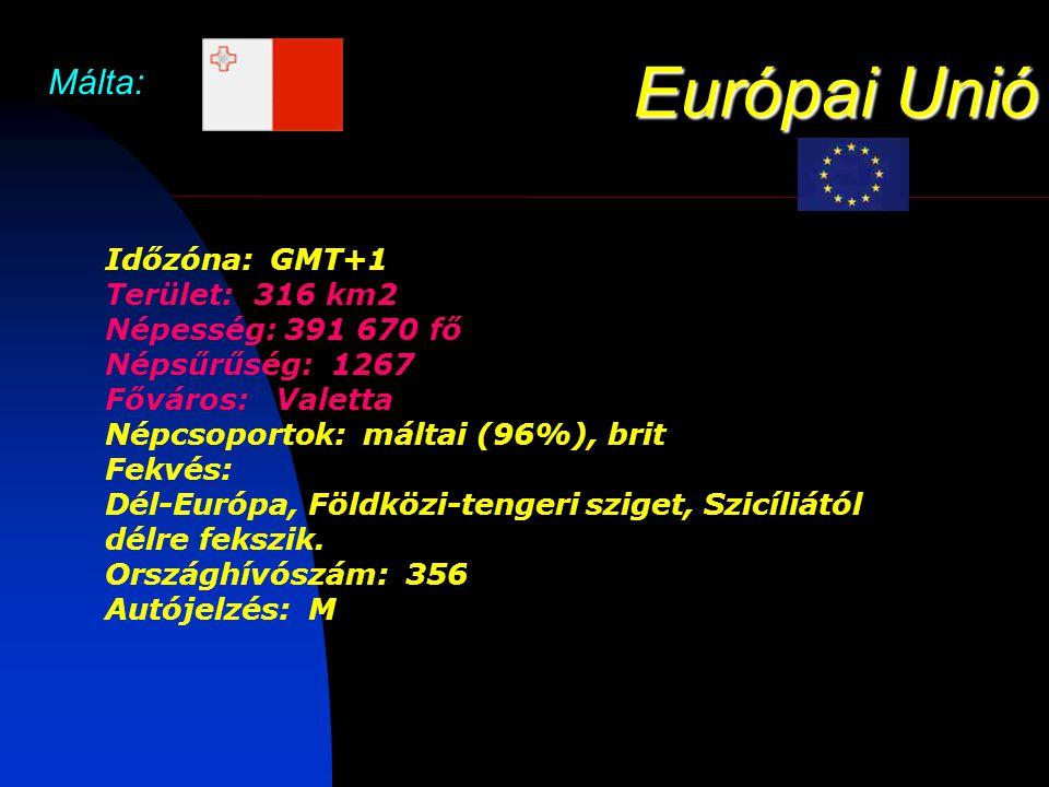 Európai Unió Málta: Időzóna: GMT+1 Terület: 316 km2 Népesség: 391 670 fő Népsűrűség: 1267 Főváros: Valetta Népcsoportok: máltai (96%), brit Fekvés: Dél-Európa, Földközi-tengeri sziget, Szicíliától délre fekszik.