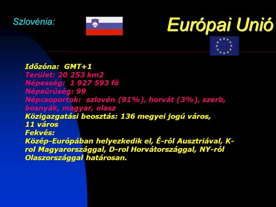 Európai Unió Szlovénia: Időzóna: GMT+1 Terület: 20 253 km2 Népesség: 1 927 593 fő Népsűrűség: 99 Népcsoportok: szlovén (91%), horvát (3%), szerb, bosnyák, magyar, olasz Közigazgatási beosztás: 136 megyei jogú város, 11 város Fekvés: Közép-Európában helyezkedik el, É-ról Ausztriával, K- rol Magyarországgal, D-rol Horvátországgal, NY-ról Olaszországgal határosan.