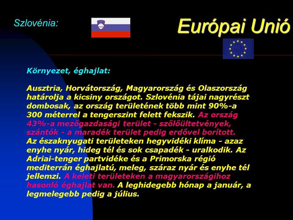 Európai Unió Szlovénia: Környezet, éghajlat: Ausztria, Horvátország, Magyarország és Olaszország határolja a kicsiny országot.