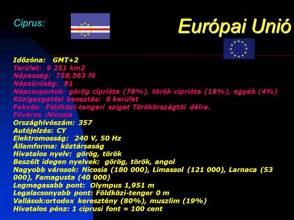 Európai Unió Ciprus: Időzóna: GMT+2 Terület: 9 251 km2 Népesség: 758,363 fő Népsűrűség: 81 Népcsoportok: görög ciprióta (78%), török ciprióta (18%), egyéb (4%) Közigazgatási beosztás: 6 kerület Fekvés: Földközi-tengeri sziget Törökörszágtól délre.