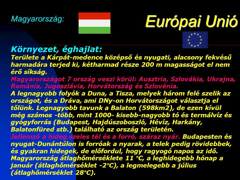 Európai Unió Magyarország: Környezet, éghajlat: Területe a Kárpát-medence középső és nyugati, alacsony fekvésű harmadára terjed ki, kétharmad része 200 m magasságot el nem érő síkság.