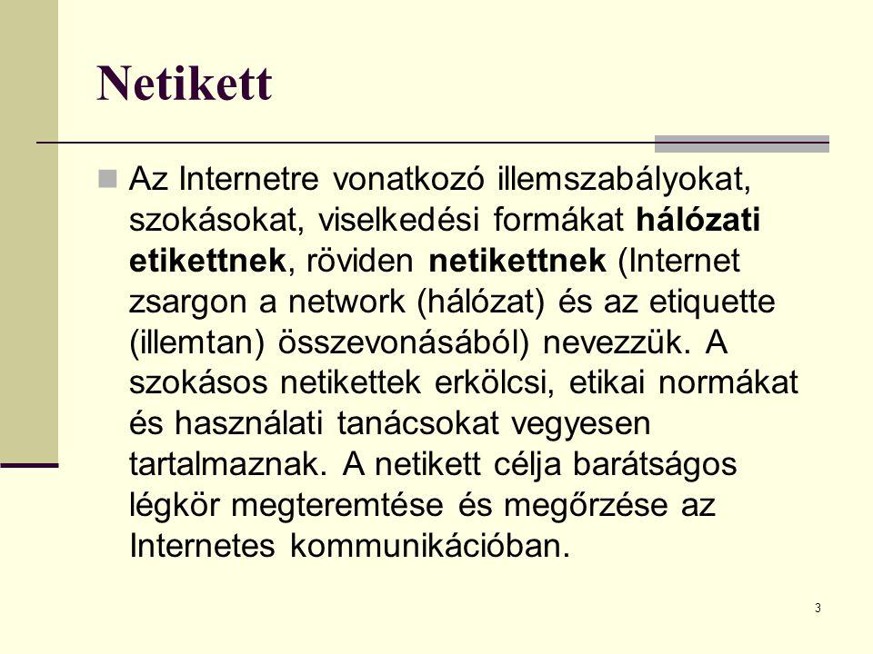 3 Netikett  Az Internetre vonatkozó illemszabályokat, szokásokat, viselkedési formákat hálózati etikettnek, röviden netikettnek (Internet zsargon a n