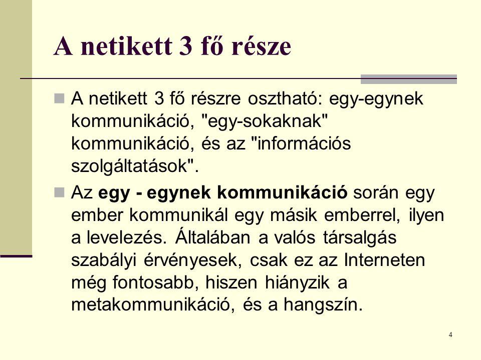 4 A netikett 3 fő része  A netikett 3 fő részre osztható: egy-egynek kommunikáció,
