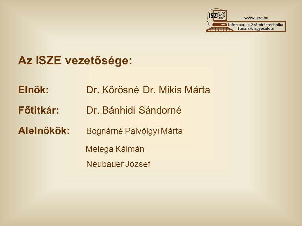 Az ISZE vezetősége: Elnök: Dr. Kőrösné Dr. Mikis Márta Főtitkár: Dr. Bánhidi Sándorné Alelnökök: Bognárné Pálvölgyi Márta Melega Kálmán Neubauer Józse