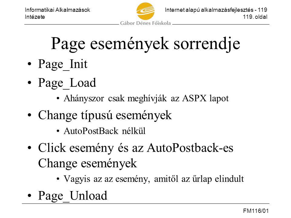 Informatikai AlkalmazásokInternet alapú alkalmazásfejlesztés - 119 Intézete119. oldal FM116/01 Page események sorrendje •Page_Init •Page_Load •Ahánysz