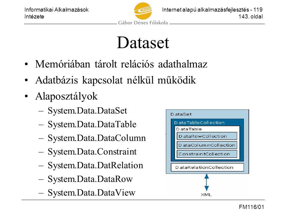 Informatikai AlkalmazásokInternet alapú alkalmazásfejlesztés - 119 Intézete143. oldal FM116/01 Dataset •Memóriában tárolt relációs adathalmaz •Adatbáz
