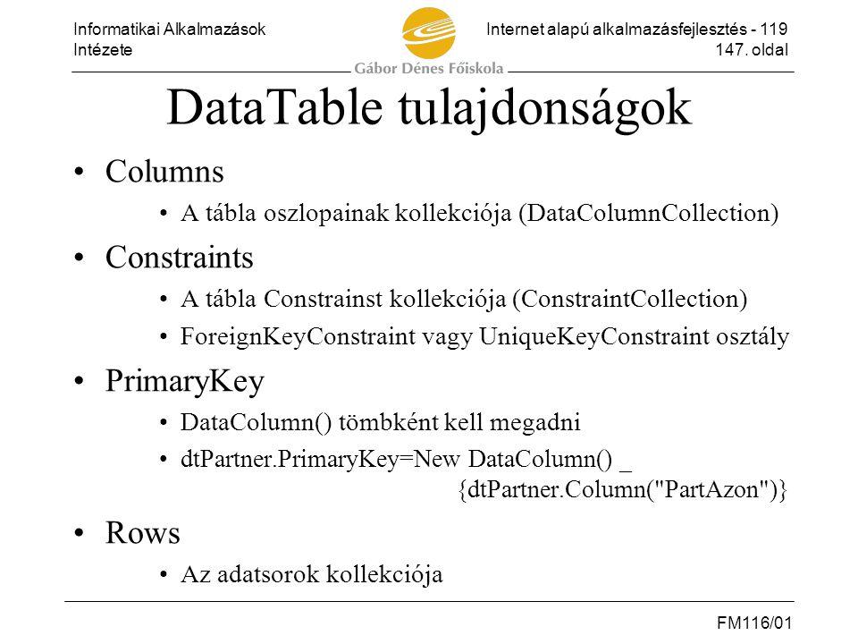 Informatikai AlkalmazásokInternet alapú alkalmazásfejlesztés - 119 Intézete147. oldal FM116/01 DataTable tulajdonságok •Columns •A tábla oszlopainak k