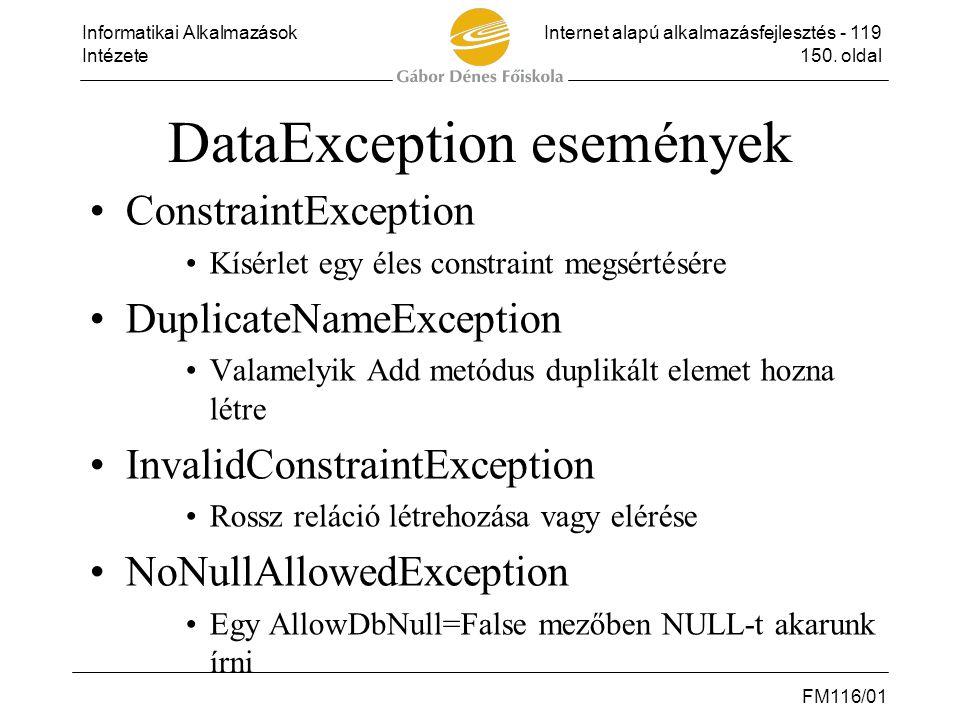 Informatikai AlkalmazásokInternet alapú alkalmazásfejlesztés - 119 Intézete150. oldal FM116/01 DataException események •ConstraintException •Kísérlet